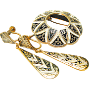Circa 1940s Brooch or Pin and Teardrop Dangle Earrings from Toledo, Spain