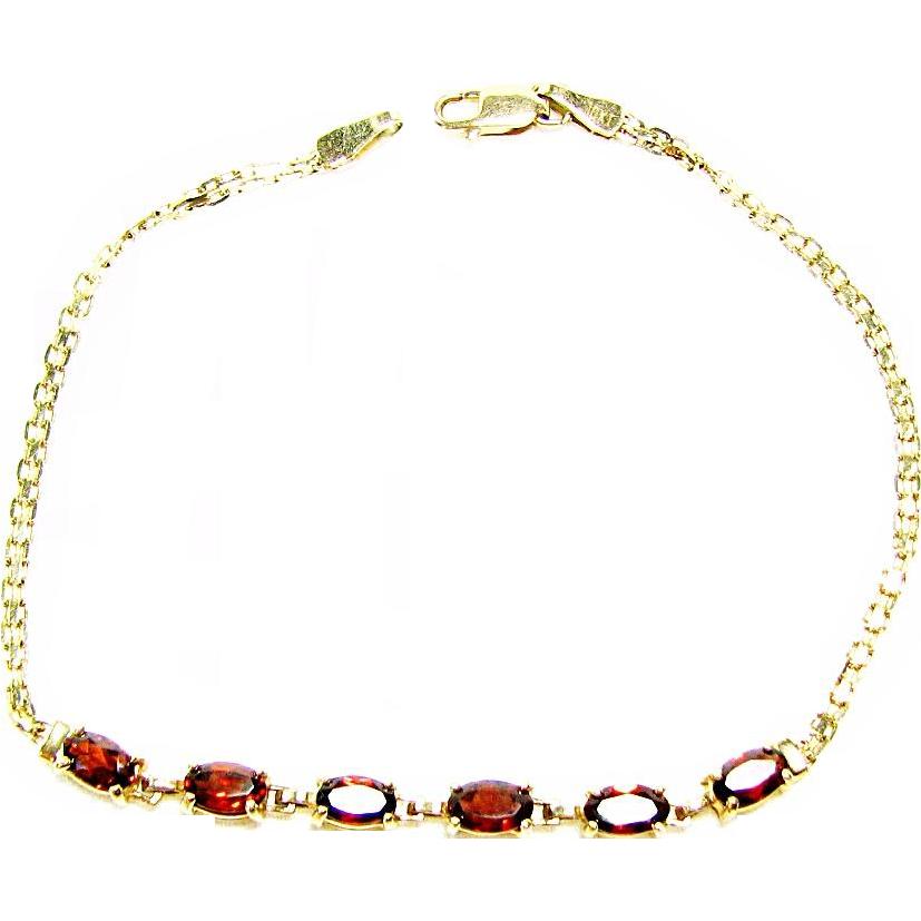 Vintage 10k Gold Bismarck Link Bracelet with Red Garnets by BAITH Co Inc