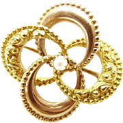 Antique 10K Gold and Rose Gold with Pearl Center Love Knot Pin or Brooch
