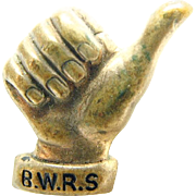 American WW II British War Relief Society / B.W.R.S. Thumbs Up Pin / Accessocraft