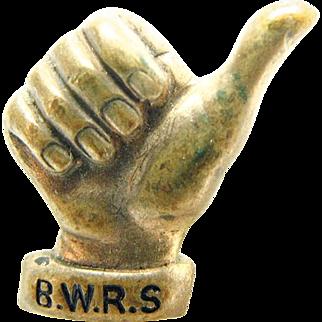 American WW II British War Relief Society / B.W.R.S. Thumbs Up Pin / Accessocraft