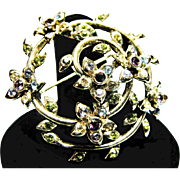 1940s Monet Flowers and Vines Brooch or Pin