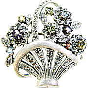 Sterling / Gemstone and Marcasite Flower Basket Brooch an Heirloom 73 Vintage Creations piece by Shapiro