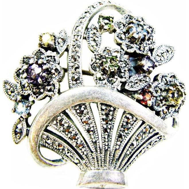 Sterling / Gemstone and Marcasite Flower Basket Brooch an Heirloom 73 Vintage Creations piece by Shapiro