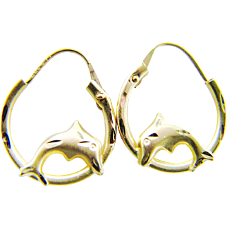 14K Yellow Gold Playing Dolphin Hoop Earrings