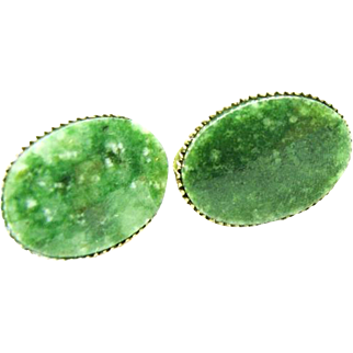 Oval Speckled Jade Bezel Set Earrings in 12K G.F. 1/20