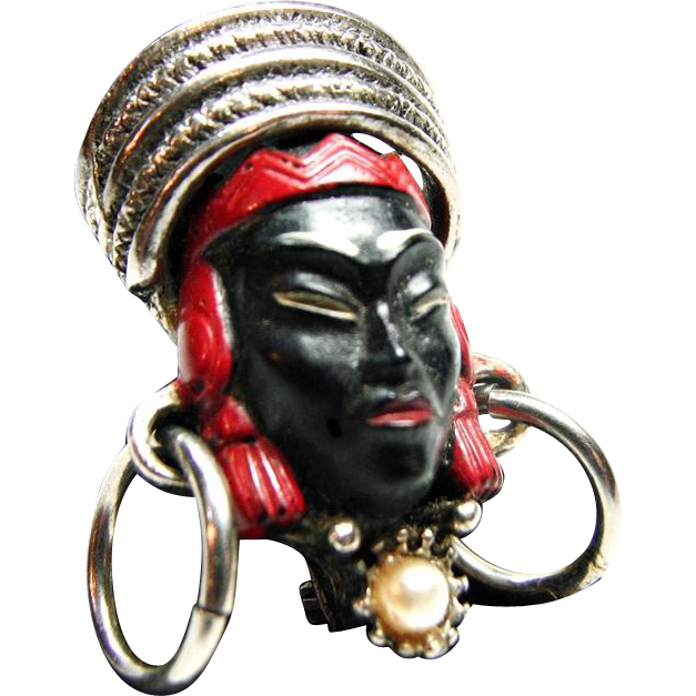Selro Black and Red Colored Asian Princess Pin or Brooch