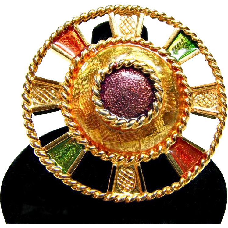 90s Liz Claiborne Multi Colored Enameled Brooch or Pin