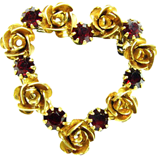 Vintage Heart N Flowers Brooch or Pin with Ruby Colored Stones