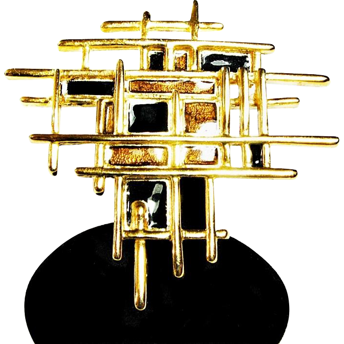 Large Geometric Modernist Brooch or Pin with Black and Golden Enameling