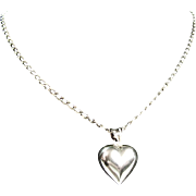 Sterling Silver Puffy Heart With Sterling Silver Link Chain Necklace