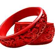 A Pair Of Detailed Vintage Costume Cinnabar Bangle Bracelets / Dragons and Vines