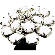 Vintage Winter White Snow Flake or North Star Brooch