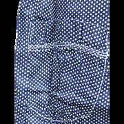 Antique Calico Long Apron, Unused, Ecru Dots/Indigo Blue