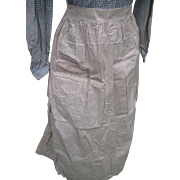 Early Calico Long Apron, Unused, Red Dots/White