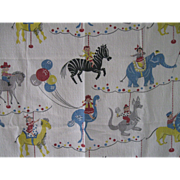 Vintage Juvenile Nursery Bark cloth Panel c 50's, Carousel