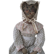"Queen Anne Oil Painted Early 25"" Cloth Doll, Ella"