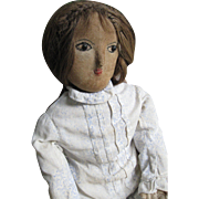 "Beautiful 26"" Antique Cloth Doll, New England, Human Hair, Provenance"