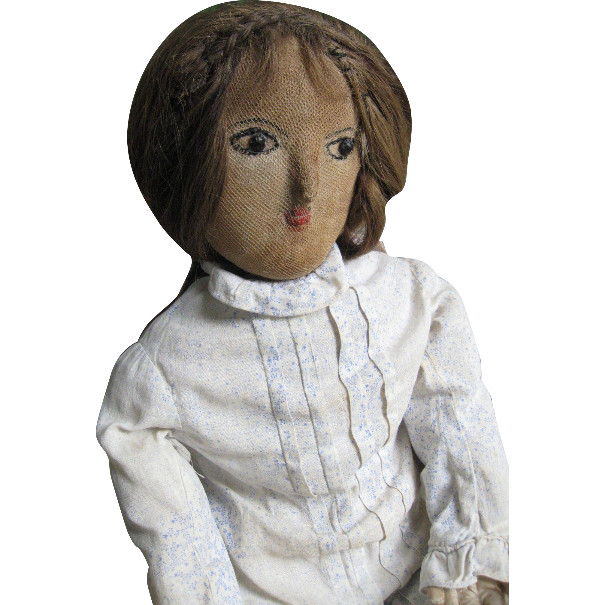 """Beautiful 26"""" Antique Cloth Doll, New England, Human Hair, Provenance"""