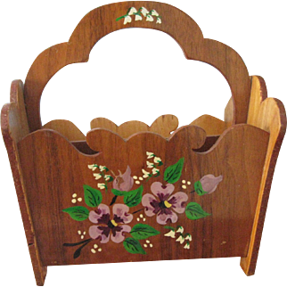Vintage Amish Handmade Letter Caddy/Napkin Holder, Paint Decorated, Wooden, Signed