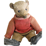 "Antique Steiff 12"" Bear in Red Sweater Outfit, Loved."