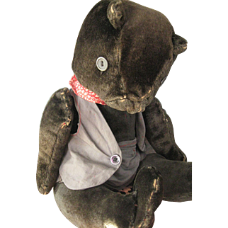 "Antique, Handmade 16"" Velvet Bear, Dressed"
