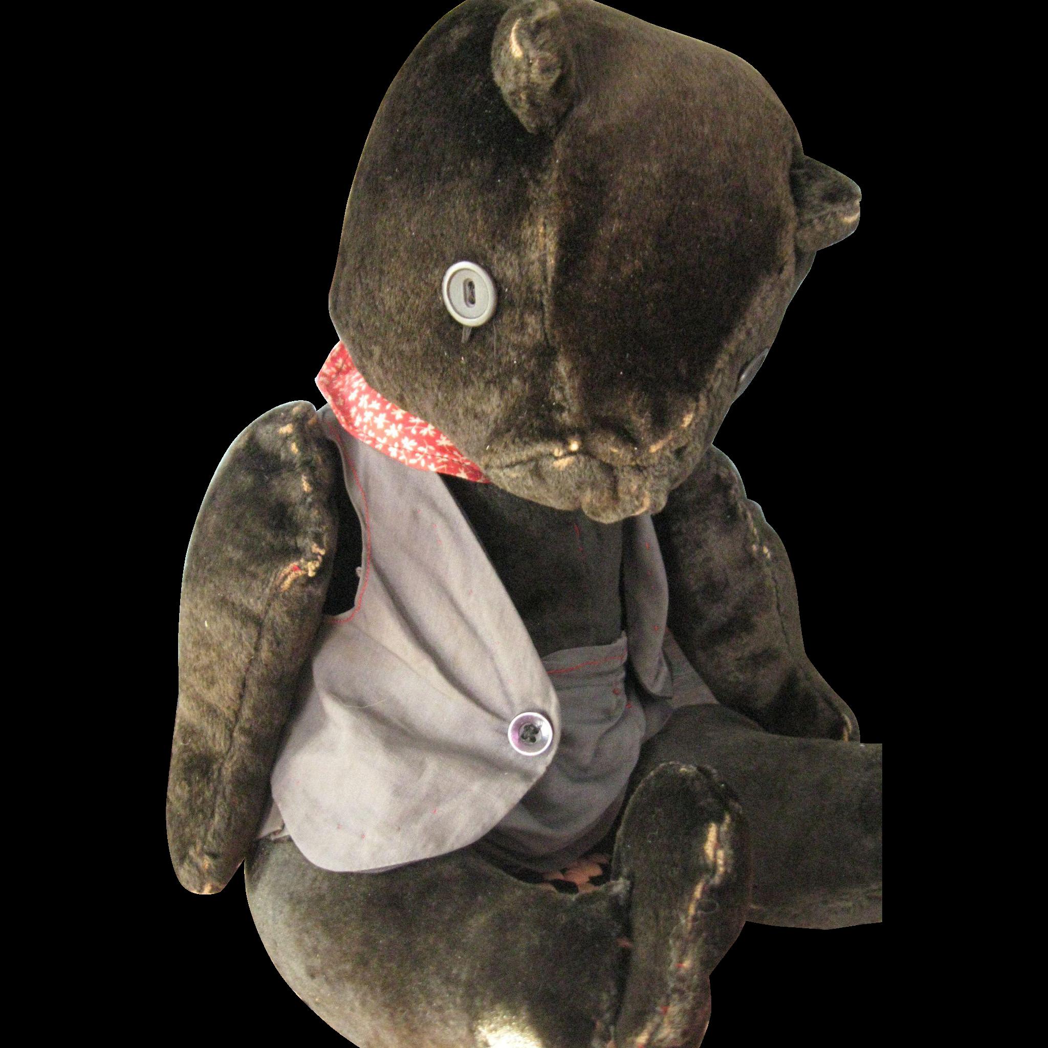 """Antique, Handmade 16"""" Velvet Bear, Dressed"""
