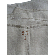 Antique Homespun Linen Sheet/Table Cover, Center Seam, Monogram