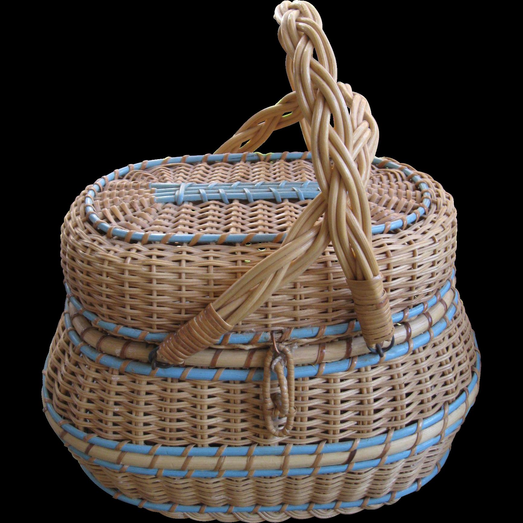 Old Handmade Baskets : Vintage kavli handmade amish diaper basket from