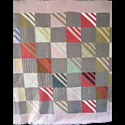 Antique Mennonite Roman Stripes Quilt, Wool