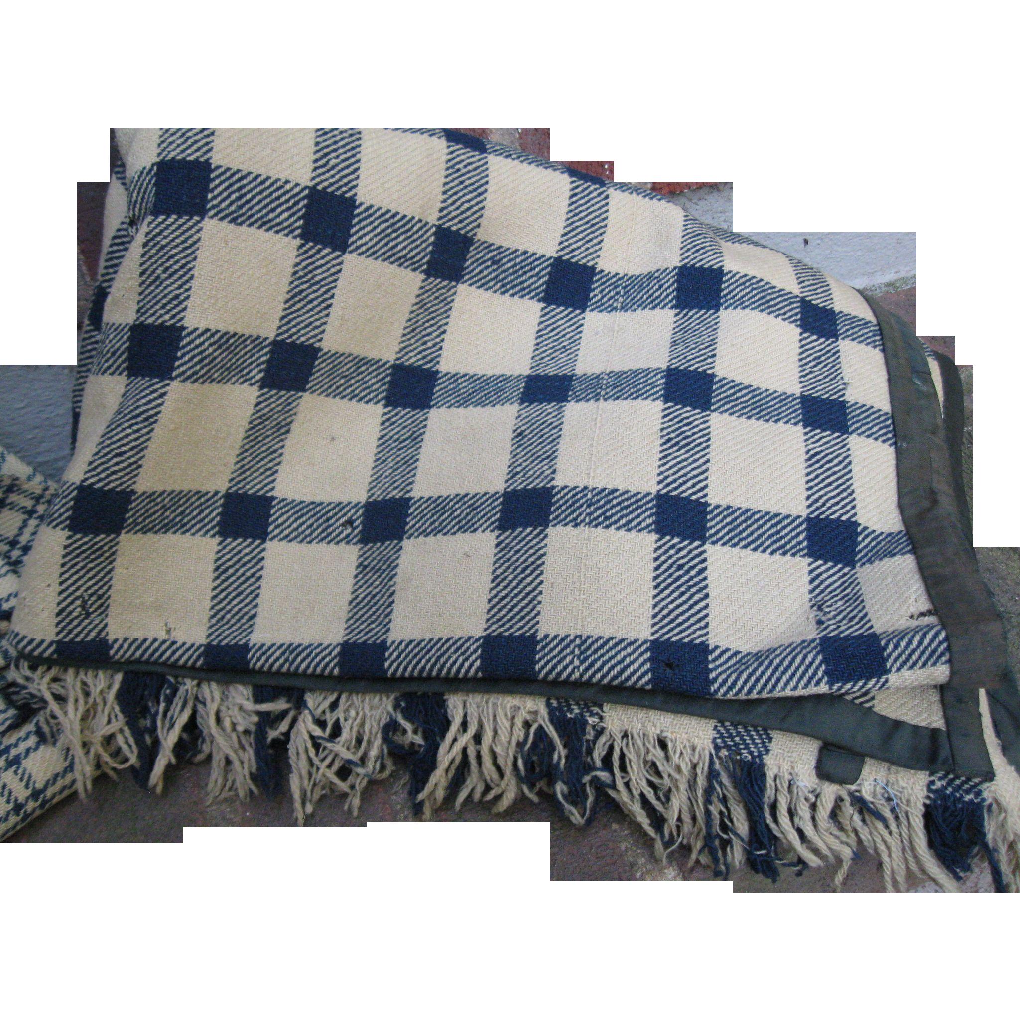 Early Antique Wool Homespun Blanket, Blue/Tan,Fringe, PA