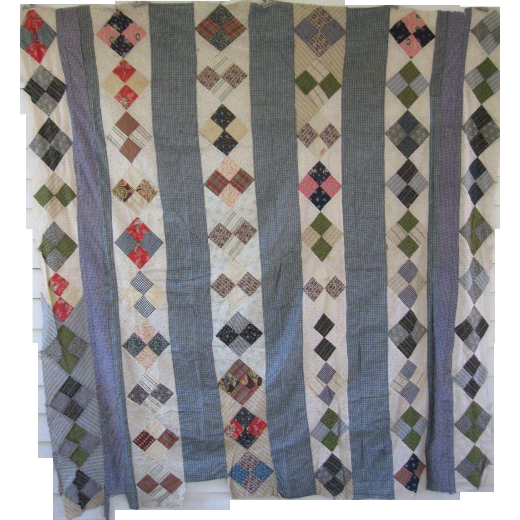 Antique Blue Calico Quilt Top, Four Patch Bars, PA