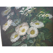 Early Floral Oil Painting on Board, Daisies, 19th C