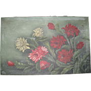 Antique Floral Oil Painting on Canvas