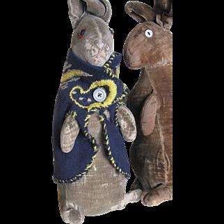 "Rare Antique Steiff 8"" Peter Rabbit in Homemade Jacket"