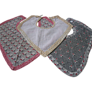 Antique Handmade Calico Bibs, Set of 3
