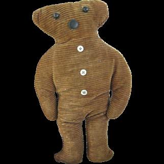 "Early, Primitive Teddy Bear 11"" Cloth Doll"