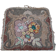 Early Vintage Hooked Brown Floral Mat