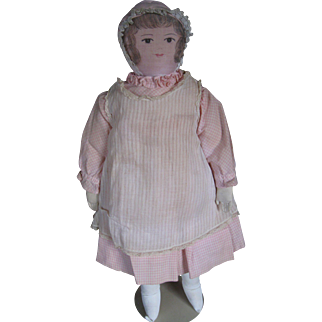 "Vintage Moravian 18"" Hand Painted Cloth Doll"