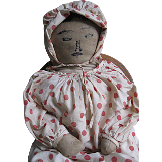 "Old Southern Folk Art 23"" Cloth/Rag Doll, Embroidered Face"