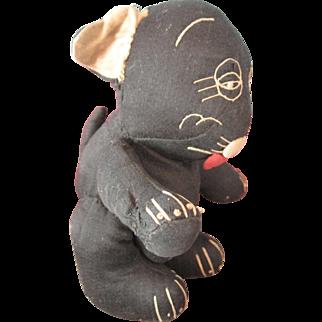 "Antique Stuffed 6"" Black Bonzo Comic Character Toy Dog"
