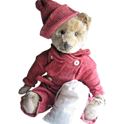 """Antique American 14"""" Ideal Bear, Dressed in Red"""