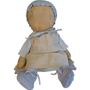 """Vintage Amish Cloth Doll, 11"""" Oilcloth Jointed"""