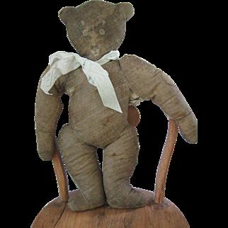 "Antique Litho Print Cloth RARE 13"" Stuffed Teddy Bear Doll"