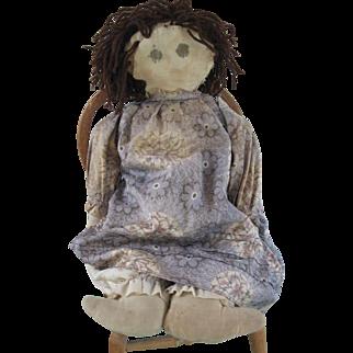 "Antique 19"" Folk Art Raggedy Ann, Volland Era Cloth Doll"