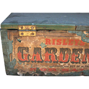 Antique Garden Seeds Box, Blue Paint, Paper Label, Mid-19th C
