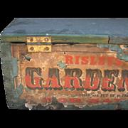 Antique Garden Seeds Box, Blue Paint, Paper Label, Mid-19th C