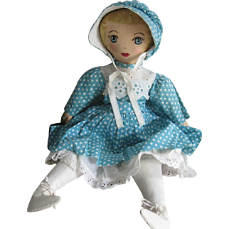 "Vintage Oil Painted Presbyterian 16"" Rag Doll, Original Dress, OH"