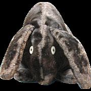 Early Black Velvet Stuffed Handmade Rabbit