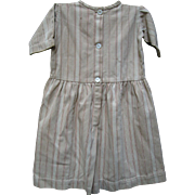 Antique Child's Primitive Brown Ticking Dress